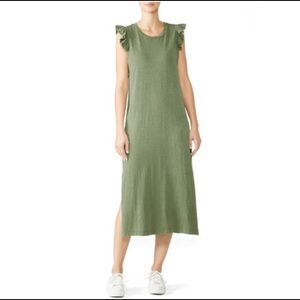 NWOT Sundry Clothing Green Ruffle Midi Dress
